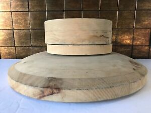3PCE WOODEN BLOCK BRIM & CROWN LADY HAT MAKING STYLE FORM DISPLAY MOLD MILLINERY
