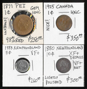 (CV $1100+ USD) 4 CANADA AWESOME COINS INCLUDING PEI & NEWFOUNDLAND > NO RESERVE
