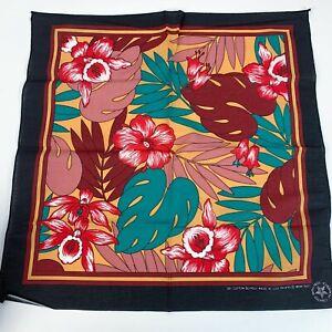 Vintage Wamcraft Monstera Tropical Floral Black Bandana USA RN #14193