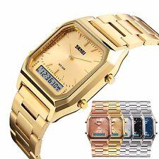 Fashion Analog Digital Men's Gold Stainless Steel Date Quartz Sports Wrist Watch