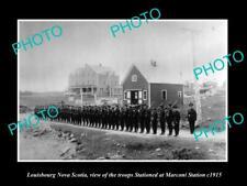 POSTCARD SIZE PHOTO OF LOUISBOURG NOVA SCOTIA TROOPS AT MARCONI STATION c1915