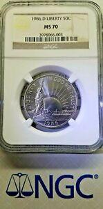 1986 D 50C Liberty Commemorative Half Dollar NGC MS70