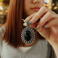 Beauty Vintage Oval Black Crystal Pendant Statement Bib Chain Woman's Necklace