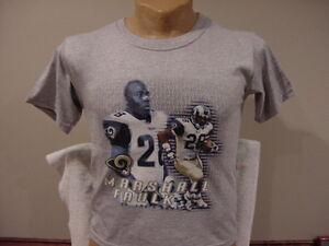 VINTAGE St. Louis Rams Marshall Faulk Youth Sz Md Grey T-Shirt, NEW&NICE!