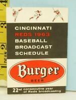 1963 Cincinnati Reds Schedule Burger Beer Waite Hoyt & Gene Kelly WCKY Sparkle B