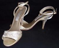 """Caparros Heels 10B 4.5"""" White Satin Beaded Embroidered Ankle Strap Open Toe"""