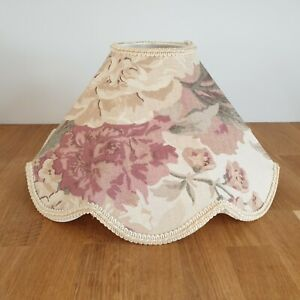 Vintage Shallow Floral Scalloped  Lamp / Ceiling Light Shade - 31cm Diameter