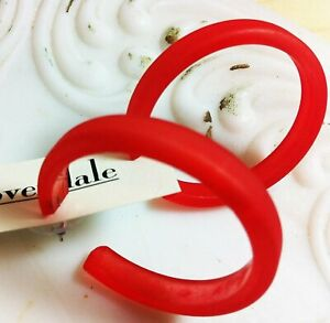 Cherry Red Vintage Lucite Frosted Classic Hoop Earrings