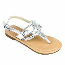 New Girls T Strap Thong Gladiator Braided Strap Flat Flip Flops Slipper Sandals