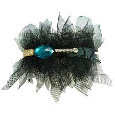Barrette Pince à Cheveux tulle noire strass doré bleu canard cristal plumes