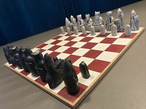 Medieval Style Isle Of Lewis Chessmen Chess Set Black White *BOARD NOT INCLUDED*