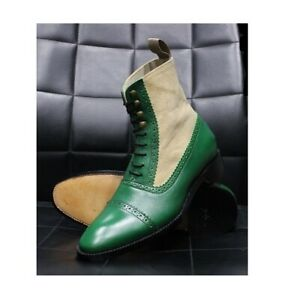 Handmade Men's Brogue Lace Up High Ankle Dress Boots, Real Leather Suede Boots