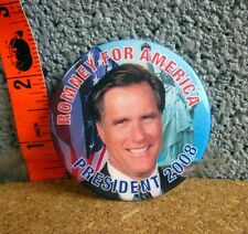 Mitt Romney for President pinback 2008 button Republican campaign Us flag