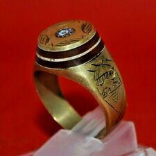 Scarce Ancient Roman Senatorial Seal bronze Ring Golden Color - 5th Century Ad
