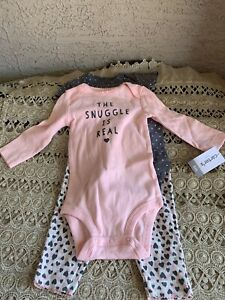 NWT Baby Girl 3 Pc Outfit Set Pants Bodysuits The Snuggle Is Real 6 Months