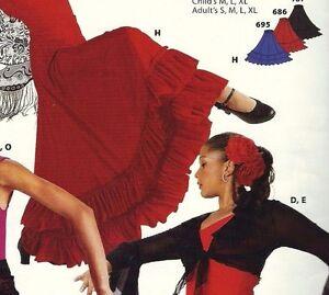 Flamenco Drawstring Skirt Double Ruffle Red ch/Ladies 85652 floor length