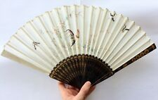 Finest Qing Antique Chinese Lacquer Silk Fan ft. Rooster & Birds in Original Box