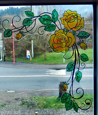 WICOART WINDOW COLOR STICKER CLING FAUX STAINED GLASS CORNER ROSE ART NOUVEAU