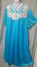 "VENTURA Blue NIGHTGOWN Long Button Down Plus Size 3X 68"" BUST"