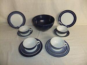 c4 Porcelain John Lewis - Midnight blue stripes - dishwasher safe tableware 5E4A