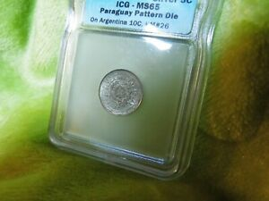 Paraguay 18XX 5C On Argentina 10C Pattern Die ICG MS-65 Silver Coin      #--74.2