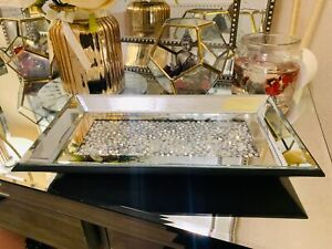Crushed Crystal Rectangular Mirror Tray Plate Candle Plate Tray Home decor 30CM