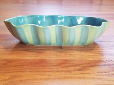 Gail Pittman PROVENCE Green And Blue Striped Wavy Serving Dish Ceramic Pottery