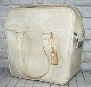 Vtg Samsonite Silhouette Luggage Carry On Bag Overnight Soft Beige Vinyl Handles