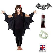 Child GOTHIC VAMPIRE BAT WINGS Cape Wing Costume Kids Halloween Fancy Dress UK