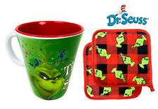 Dr. Seuss The Grinch & Max Melamine Mug w/ 2 Pot Holders Christmas Gift Set