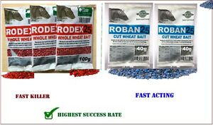 Rat mouse bait   Max Strength Rodex 25 Whole Wheat or  Roban25 cut wheat bait