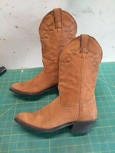 Vtg Laredo US Made Women's 7W Buckskin Western Boots Scalloped Collar Worn Once?