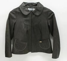 CHRISTIAN DIOR Girls Dark Green Leather Long Sleeve Collared Jacket 8 Yrs.