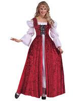 Mediueval Lace Up Gown Red Velvet Renaissance Fancy Dress Old England Tudor New