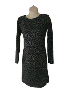 Quiz Glitter Sparkle Dress Size 12 Stretchy Long Sleeved Evening Party Ladies