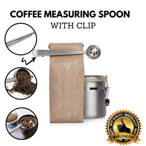 Stainless Steel Ground Coffee Measuring Spoon Scoop With Bag Sealing Clip UK