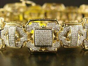 4.50 Ct White Sim Diamond Men's Silver Bangle Bracelet 14K Yellow Gold Plated