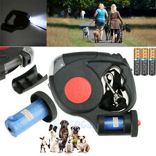 5M Dog/Cat Traction Rope Automatic Retractable Leash & 3 Lights & Garbage Bags