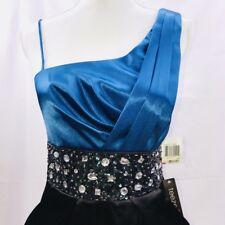 NWT TEEZE ME sz 9 Blue Black SHIMMER Sparkle GEMS Sexy ONE SHOULDER Mini Dress