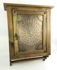 Rustic Pine Wood Wall Mount Cabinet W/ Embossed Lot 2545