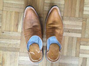 Marokkanische Lederschuhe Babouche Hausschuhe  Pantoffeln handgemacht BLAU G:40