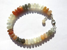 Mondstein multi facett.Armband 20-22,5 cm 925 Silber Moonstone Bracelet Nr. 3606