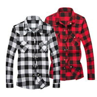 Mens Button Down Casual T-Shirts Fit Slim Flannel Plaid Sleeve Long GIFT Tops
