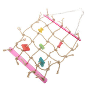 Happy Pet Parrot toy - Red Net Netting, Chewing Wood Blocks, Stops ennui