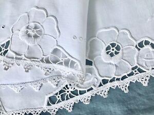 """Antique Linen Pillow Sham Hand Embroidery Floral Cutwork Crochet 71cm / 28 """""""