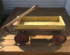 Vintage 1920's Wooden Wagon, Original Red & Yellow Paint, Nice Primitive Piece!