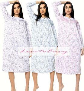Womens Thermal Nightie PLUS SIZE Long Sleeve Flower WINTER WARM Nightwear Dress