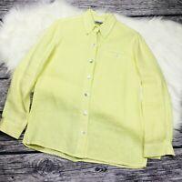 Chicos Design womens button front long sleeve linen blouse size 0