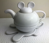 Disneyland Tea For One Stacking Teapot Cup Saucer Set White Ceramic Mickey Mouse