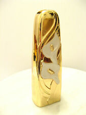 Vtg HEAVY BRONZE PLATED GOLD TONE WHITE ENAMEL CALLA LILY - Wm A Rogers BUD VASE